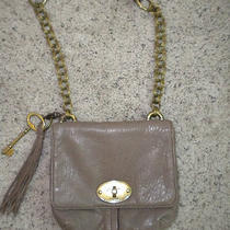Fossil Beige Leather and Brass Shoulder Purse Photo