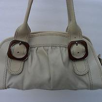 Fossil  Beige Pebble Leather satchel.wooden Buckles. Awesome Photo