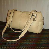 Fossil Beige White Brown Leather Shoulder Bag Satchel Purse Nice Clean Euc Photo