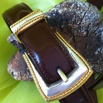 Fossil Belt Glazed Leather Brown Genuine  Silver Gold Tone Buckle Womens Size M Photo