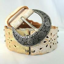 Fossil Belt Leather Flower Tooled Silver Gold White Distressed Boho Women Medium Photo