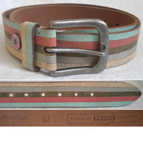 Fossil Belt Square Pewter Wide Distressed Multicolor Women's Large L (34)  Photo