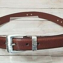 Fossil Belt Unc Tarheels Belt Men's Size 34 Leather Belt Brown Silver Tone  Photo