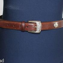 Fossil Belt Womens Brown Leather With Silver Decoration & Buckle Size Large  Photo