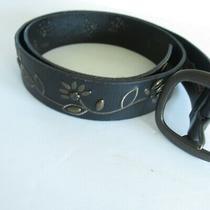 Fossil Belt Womens Size M Medium Black Floral Studded Leather  Photo