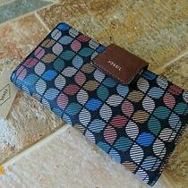 Fossil Bi-Fold Organizer Pvc Double Snap Multicolor Zip Wallet Photo
