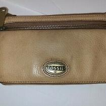 Fossil Bifold Leather Wallet Tan Color Zipper Photo