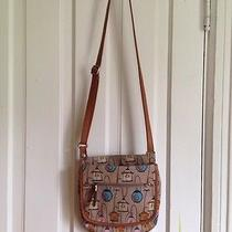 Fossil Bird Cage Crossbody Bag / Purse - Leather and Canvas Photo