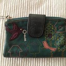 Fossil Bird Cage Green Genuine Leather Bifold Wallet Used Photo