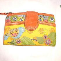Fossil Bird Yellow Orange Zipper Wallet  Photo