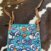 Fossil  Birds  Floral  Teal  Coated Canvas Purse Bag  Crossbody  Zip Closure Photo
