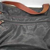 Fossil Black and Brown Leather  Handbag Bag Purse Large Excellent Condition Photo