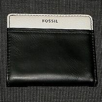 Fossil Black and White Leather Women's Bifold Wallet  Photo
