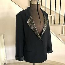 Fossil Black Blazer Gold Sequins Womens Size L Single Button Pockets Long Sleeve Photo