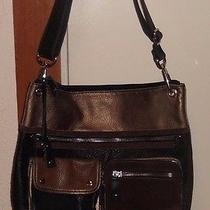 Fossil Black/brown/bronze Suede/leather Cross Body Messenger Tote Purse Top Zip Photo