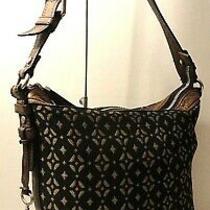 Fossil Black Brown Genuine Leather Trim Hobo Shoulder Purse Bag Key Tag Charm Photo