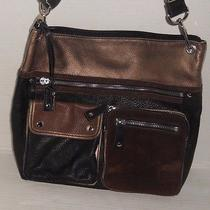 Fossil Black/brown/gold Suede/leather Cross Body Messenger Tote Bag Purse Nice Photo
