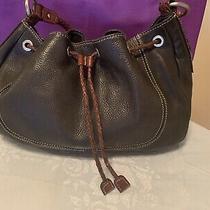 Fossil Black Brown Leather Braided Drawstring Med Shoulder Hobo Tote Purse Bag Photo