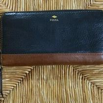 Fossil Black Brown Leather Zip Clutch Wallet Photo