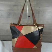Fossil Black Brown Red Gold  Leather Shopper Tote Shoulder Bag Handbag Satchel   Photo