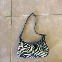Fossil Black Canvas Leaf Print Purse Handbag Bag Photo