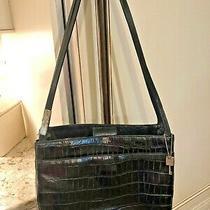 Fossil Black Croc Embossed Leather Tote Shoulder Bag Handbag Purse Photo