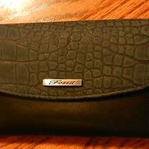 Fossil Black Croc Leather Wallet Brand New  Photo