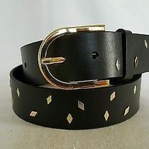 Fossil Black Diamond Shape Studded Leather Belt Size M Photo