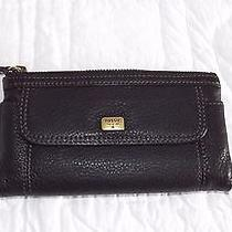 Fossil Black Emma Clutch Pebbled Leather Wallet Swl1043 Womens Photo