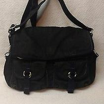 Fossil Black Fabric Messenger Bag With Tan Leather Detail Euc Photo