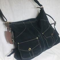 Fossil Black Fabric Messenger Tote Crossbody Handbag Pockets Luggage Tag Photo