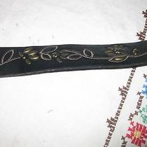 Fossil  Black-Floral-Studded Leather Belt Women's Size Large  Photo