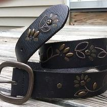 Fossil  Black-Floral-Studded Leather Belt Women's Size Small Photo