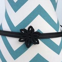 Fossil Black Floral-Tie Back-Leather Belt Women's Size Medium Photo