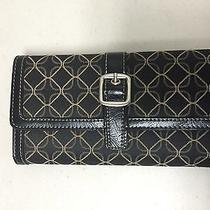 Fossil Black Genuine Leather Check Book Wallet  With Pen Holder Photo