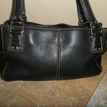 Fossil Black Genuine Leather Zippered Tote Euc Photo