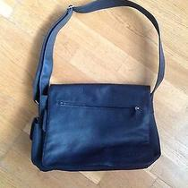 Fossil Black Leather 1954 75082 Messenger Laptop Bag - New Photo