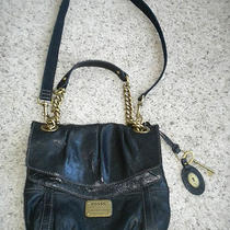 Fossil Black Leather and Brass Women's Crossbody Purse Photo