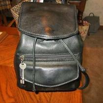Fossil Black Leather Backpack Photo