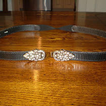 Fossil Black Leather Belt W/elastic Brass/stone Buckle Sz L - Hardly Worn Photo