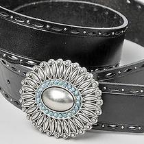 Fossil Black Leather Belt With Silver Rosette Buckle Size Small 39