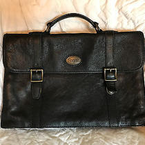 Fossil Black Leather Briefcase Photo