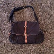 Fossil Black Leather Canvas Computer School Crossbody Satchel Tote Book Bag Used Photo