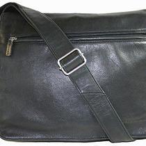 Fossil Black Leather Computer Bag Satchel Cross Body Bag Photo