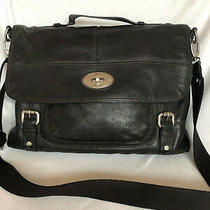 Fossil Black Leather Convertible Maddox Messenger Crossbody Bag - Bnnt Rrp 399 Photo