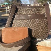 Fossil Black Leather Crossbody Bag Set &wallet Photo