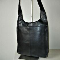 Fossil Black Leather Crossbody Messenger Soft Signature Front Photo