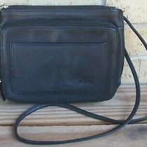 Fossil Black Leather Crossbody Organizer Handbag Photo