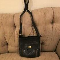 Fossil Black Leather Crossbody Purse Photo