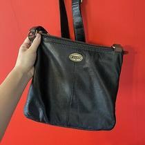 Fossil Black Leather Crossbody Shoulder Bag Purse  Photo